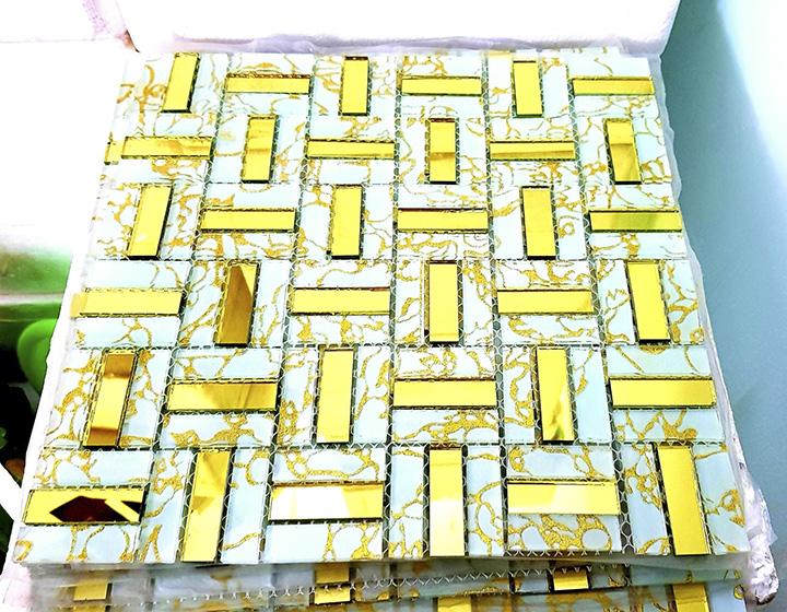 Mosaic thanh vàng trắng AL117