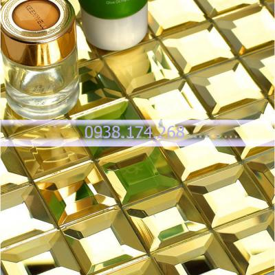 Gạch mosaic kim cương vàng