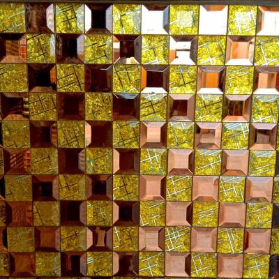 Gạch mosaic vát cạnh vàng trà AL204