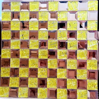 Gạch mosaic vát cạnh vàng trà